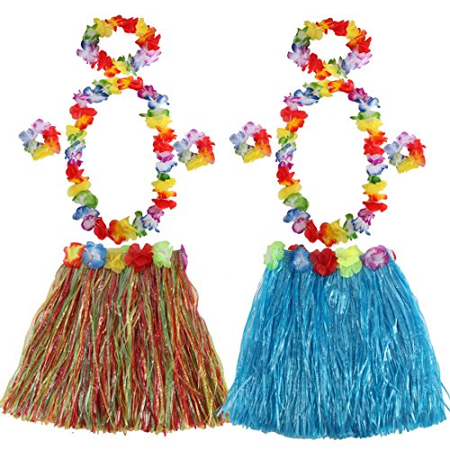 kilofly 2 Sets Girls Elastic Hawaiian Dancer Grass Hula Skirt Floral Lei (Darling Floral Skirt)