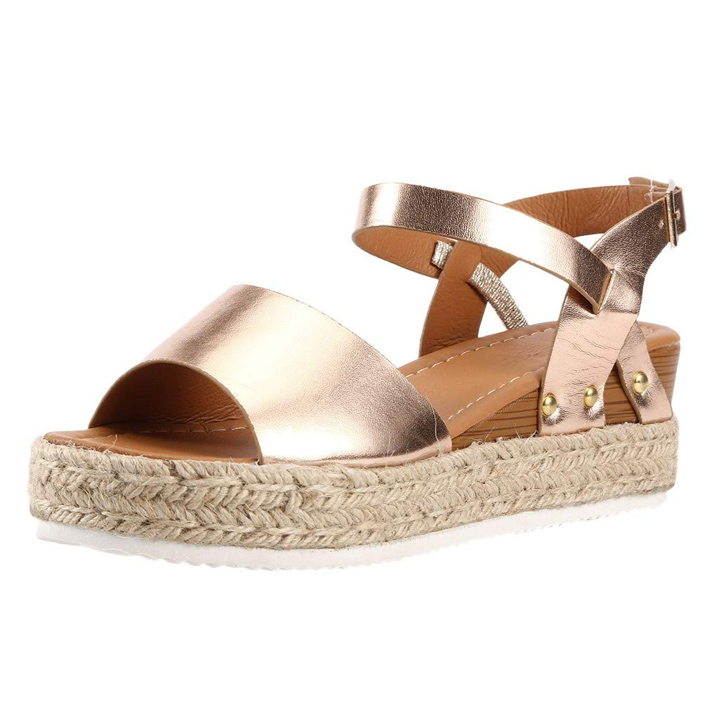 Sharemen Women's Open Toe Strappy Mid Wedge Heel Wood Decoration Buckle Shoes Sandals (Gold,US: 9)