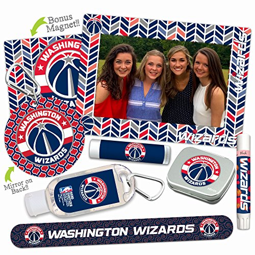 Washington Wizards Deluxe Variety Set with Nail File, Mint Tin, Mini Mirror, Magnet Frame, Lip Shimmer, Lip Balm, Sanitizer. NBA Basketball Gifts and Gear for Women