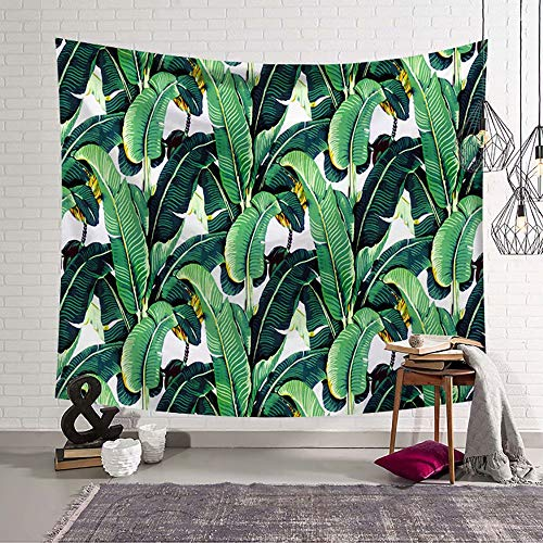 Palm Leaf Wall Sculpture - Handser Banana Leaf Tapestry Palm Tree Leaves Tapestry Wall Hanging Watercolor Tropical Plant Foliage Wall Blanket for Bedroom Living Room Dorm Decor 80x60inch