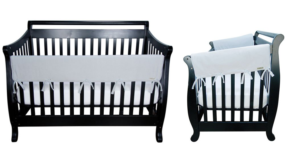 CribWrap Crib Wrap 3PC Rail Cover Set By Trend Lab - 1- 51'' Front Rail Cover, 2- 27'' Side Rail Covers, Gray Fleece
