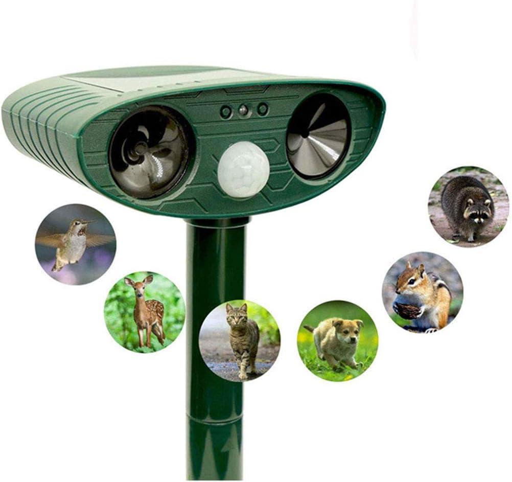 WMNRNYD Repelente ultrasónico Solar de Animales con Sensor PIR, Suministros de jardín Impermeables al Aire Libre, Asusta eficazmente a los Gatos, Perros, Ardillas, marmotas, pájaros