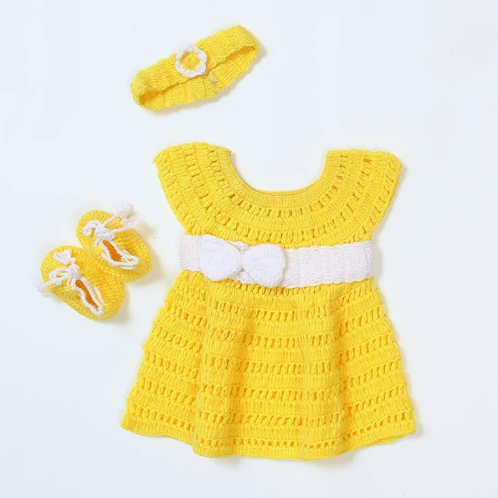 USHA Hand Made Crochet Baby Girl Yellow Dress with White Bow(7-7mon)