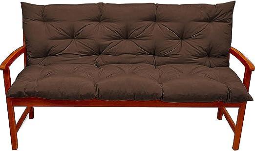 Bench Cushion Replacement 2 or 3 Seat Waterproof Non-Slip Backrest Mat Outdoor Lounger Garden Patio Swing 150x100x10cm
