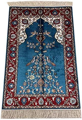 Yilong 2'x3' Oriental Rug Handmade Silk Persian Carpet Prayer Rug