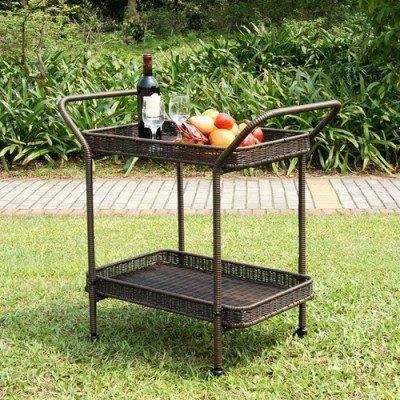 (Jeco Inc. Wicker Lane ORI002-A Outdoor Espresso Wicker Patio Furniture Serving Cart )