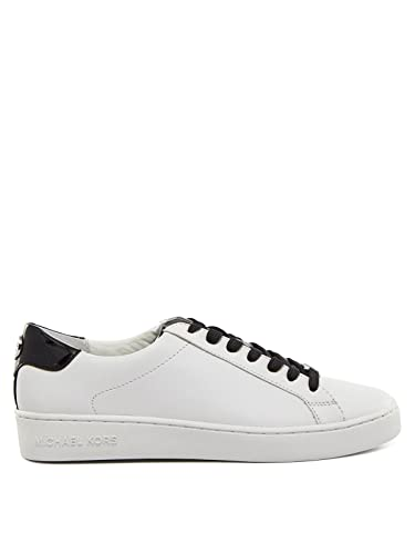 2a98f74f44ae Michael Kors Irving Lace Up Sneaker Optic White Black Vachetta  Leather Patent 37