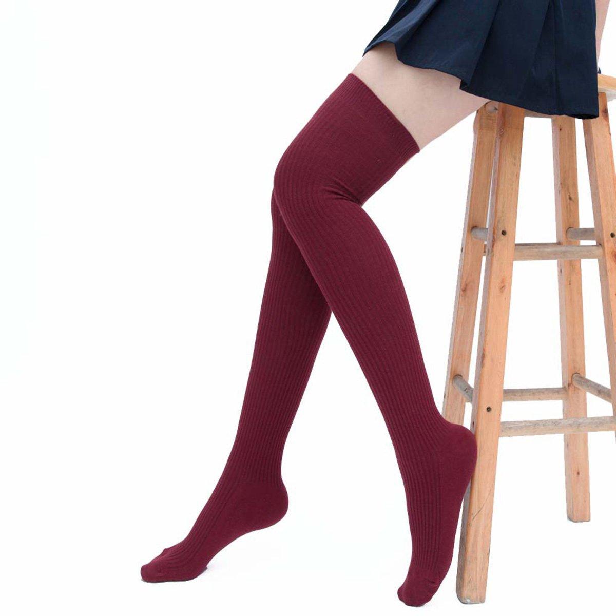 Butterme Donna Gambaletto Cotone Inverno Caldo Calze a maglia alto sopra al ginocchio ueberknie allievo al ginocchio, calze sportive grigio chiaro grigio chiaro ZUMUii ZUMU00006422