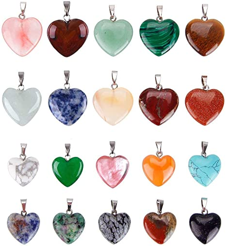 Wholesale 50pcs//lot Fashion Natural Heart Gemstone Stone Pendentifs Charme 16 mm