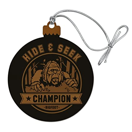 a80d2bc0 Amazon.com: GRAPHICS & MORE Hide and Seek Champion Bigfoot Sasquatch Funny  Wood Christmas Tree Holiday Ornament: Home & Kitchen