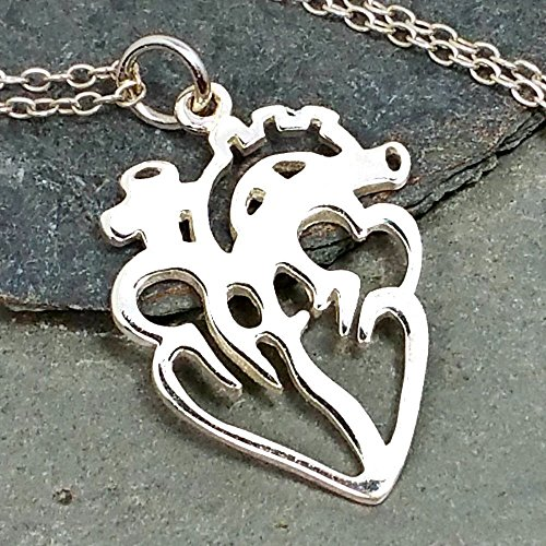 Anatomical Human Heart Cutout Necklace product image
