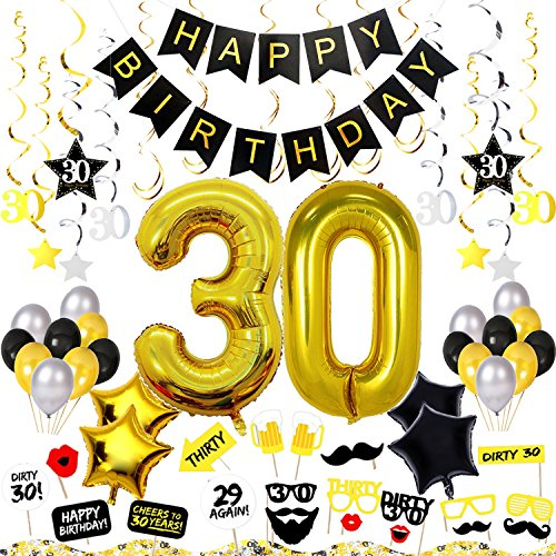 30th Birthday Decorations Kit 75 Pieces - Happy Birthday Banner, 40-Inch 30 Gold balloons, Sparkling Hanging Swirls, Photo Booth Props, Confetti for Table Decorations, Birthday Plan Checklist