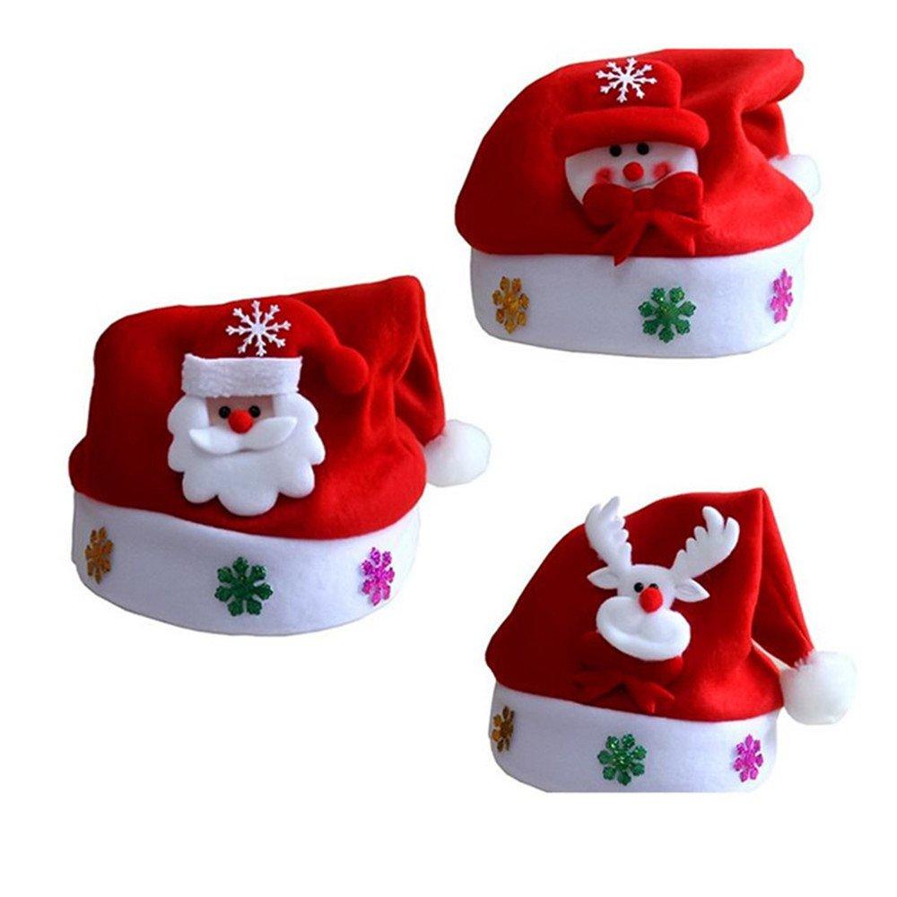 3 Pack Christmas Theme Hats for Kids, Elf/Santa/Snowman Velvet Hat NUOMI