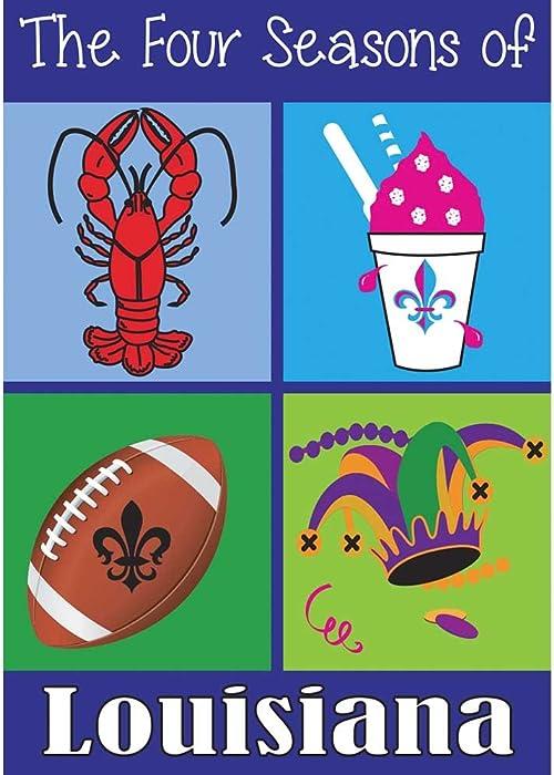 Four Seasons of Louisiana Icons 18 x 13 Rectangular Double Applique Small Garden Flag