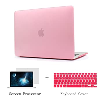 TwoL Funda Dura Carcasa con Cubierta de Teclado y Protector de Pantalla para MacBook Air 11-11.6 pulgadas (Rosa)