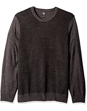 Men's Big and Tall Soft Acrylic Multi Pattern Block Crew Sweater