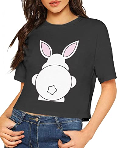 Happy Easter Cute Bunny Gift With Flowers Crop Tops Crop-top Croptop Hare Paws Bunny Ears Novelty Ladies Gift Funny Top Womens
