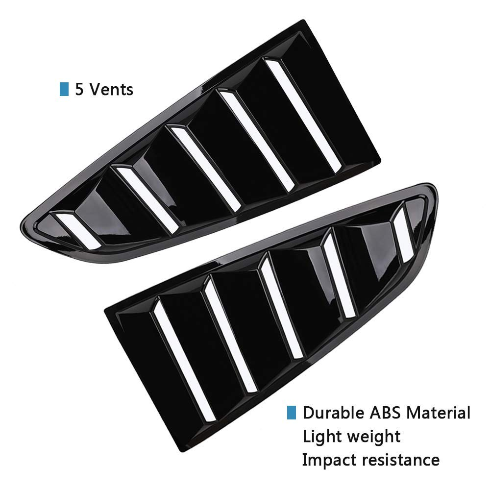 Tutor Auto Quarter Side Window Louvers for 2015 2016 2017 2018 Ford Mustang Louvers GT 5 Vents Window Scoop Louver