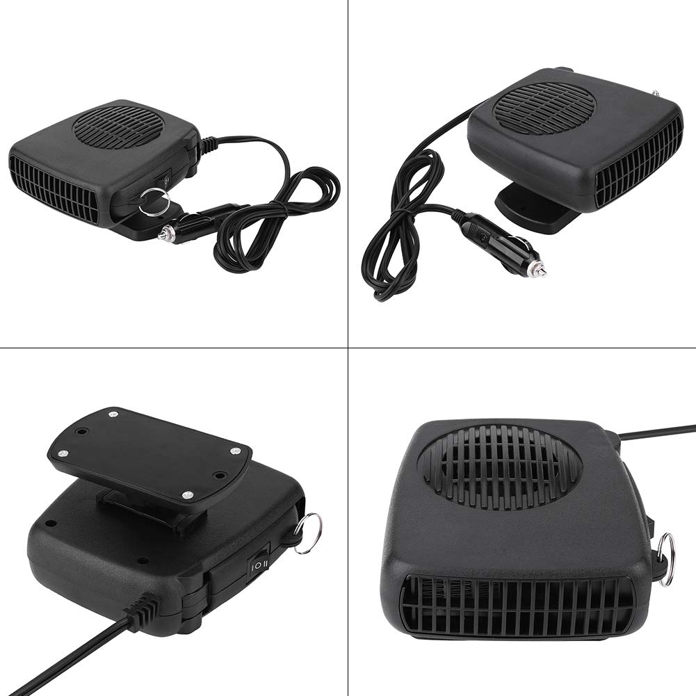 Terisass Windshield Car Heater 12V 150W Car Portable 2 in 1 Ceramic Heating Cooling Heater Fan Defroster Defogger Demister Car Heat Cooling Fan Lighter with Hidden Handle and 360/° Adjustable Base