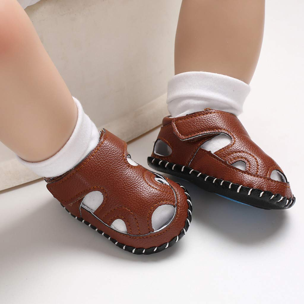 Cloudro Baby Closoed Toe Sandals Soft Sole Boys Girls Crib Shoes for 0-18 Months