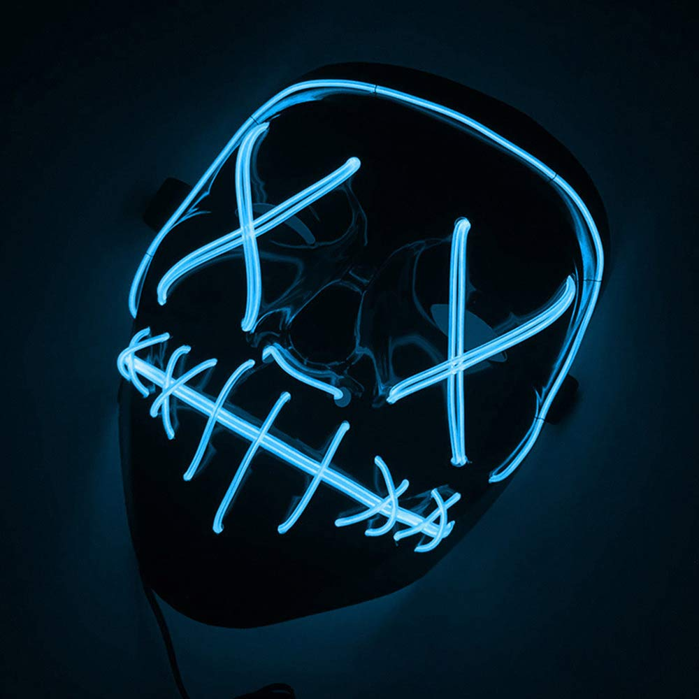 CI.UU Halloween Scary Mask Purge Mask Cosplay Costume Mask LED Light Up Mask for Christmas Halloween Festival Party