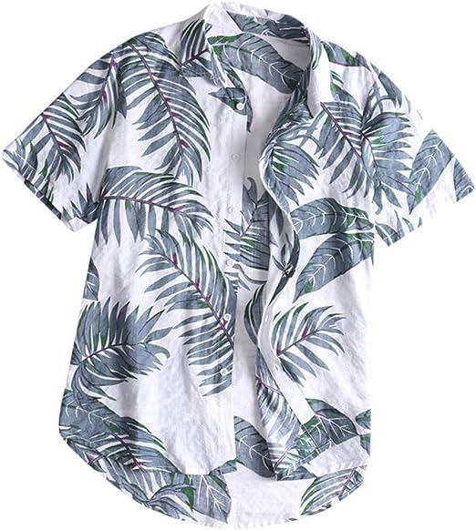 Mens Hawaiin Shirt Button Up Long Sleeve Casual Muscle T-Shirt Tops Blouse Pullover Jumper Sweatshirts Beach Yoga Top