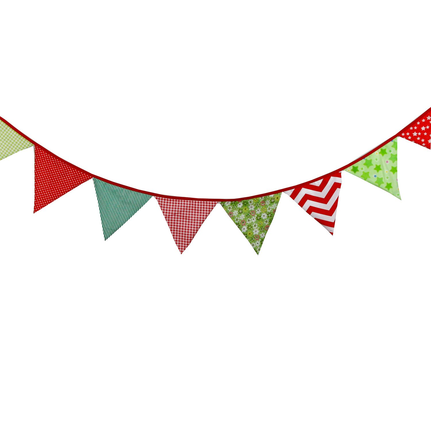 INFEI 3.2M//10.5Ft Christmas Fabric Flags Bunting Banner Garlands for Wedding 6839252 Outdoor /& Home Decoration Birthday Party Multicolored