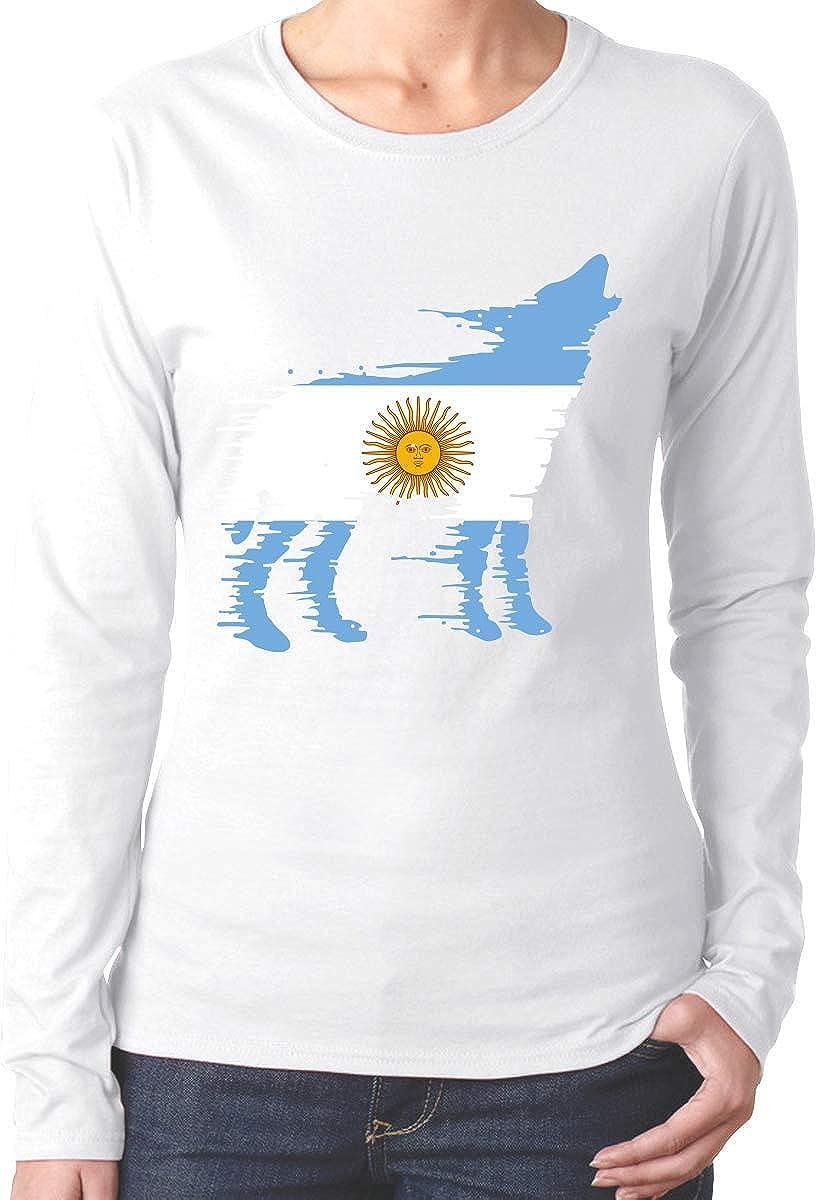 Camiseta de algodón con Camiseta de Manga Larga WolfSoft de Argentina para Mujer: Amazon.es: Ropa y accesorios