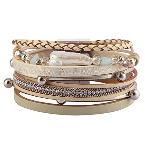 4c854a103ae JAOYU Leather Cuff Bracelet for Women Multilayer Rope Wrap Bracelets with  Baroque Pearl Handmade Bangle Boho