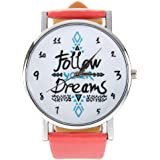 Follow Your Dreams Patron Relojes - SODIAL(R)Mujeres Follow Your Dreams Patron PU Relojes de Pulsera (Rosa)