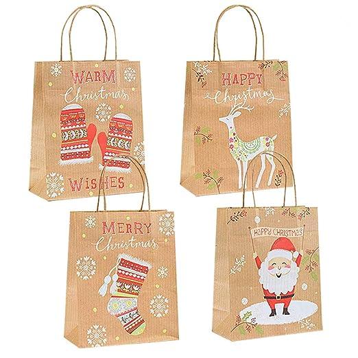 Gudotra 24pcs Bolsa de Papel Kraft Navidad Bolsas Recuerdo Gracias Invitados Boda Cumplaños Navidad (24pcs-Navidad)