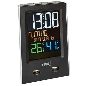 TFA Dostmann Charge-IT Reloj Despertador Radio Control con 2 Puertos USB, Negro, 9 x 6 x 13 cm: Amazon.es: Hogar