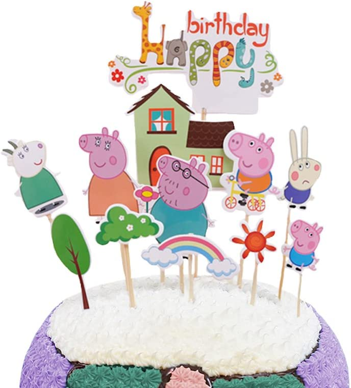 Pleasing Party Hive 12Pc Peppa Cartoon Pig Cake Toppers For Birthday Party Funny Birthday Cards Online Overcheapnameinfo