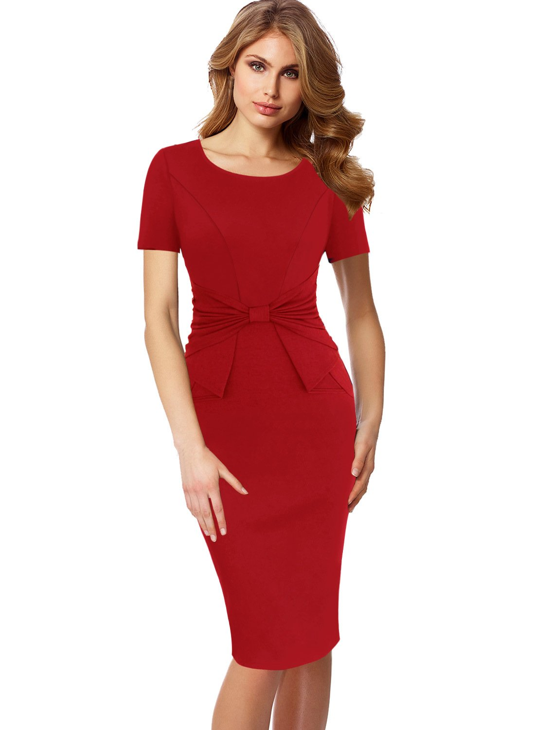 VFSHOW Womens Short Sleeves Pleated Bow Wear to Work Church Sheath Dress 321 RED M by VFSHOW