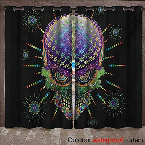 delic Outdoor Curtain for Patio Digital Mexican Sugar Skull Festive Ceremony Halloween Ornate Effects Design W84 x L96(214cm x 245cm) ()