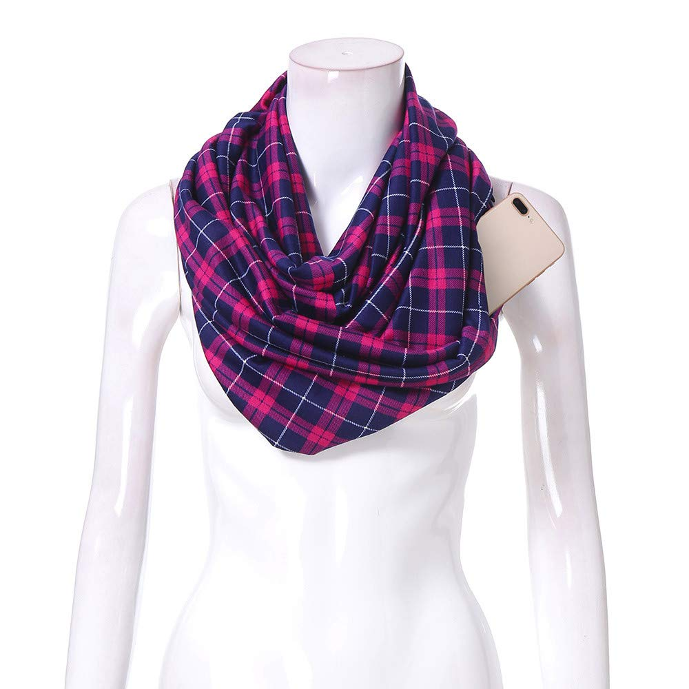 Women Infinity Scarf Soft Print Shawl Wrap Loop Scarf with White Zipper Pocket, Infinity Scarves (Multicolor -A, Free Size)