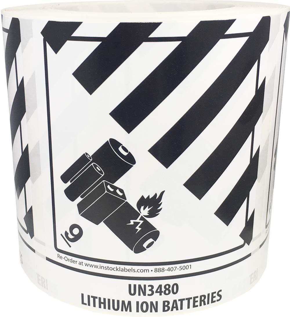 UN3480 Lithium Ion Batteries, Hazard 9 Pre-Printed by InStockLabels.com