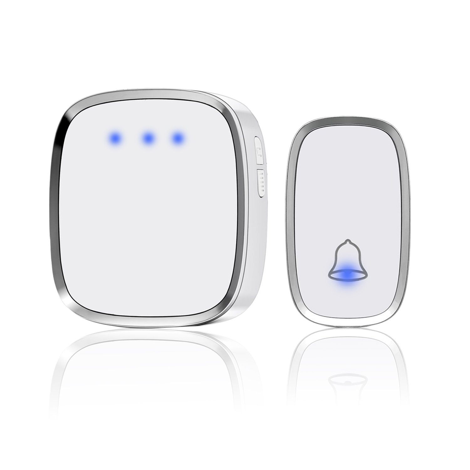 Waterproof Wireless Doorbell Alert System Expandable Multi-Unit Basal Getting Started Kit,1 Push Button Transmitter (included 1 battery) and 1 Plug-in Receiver Distance Over 1000ft 36 Melodies