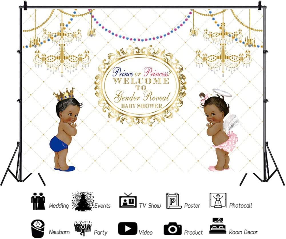 Yeele Gender Reveal Baby Shower Backdrop Prince or Princess Black Ethnic Africa Kids Photography Background 10x8ft Golden Chandelier Decoration Studio Newborn Props Party Photo Shoot Backdrop Banner
