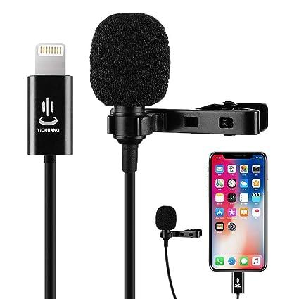 Micr/ófono Profesional de Audio y Video omnidireccional para iPhone X XR XS MAX 8 8plus 7 7plus 6 6plus 6s 5 iPad 6 m // 19.6 pies Micr/ófono de Solapa Lavalier