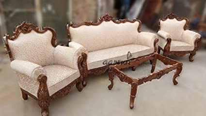Aarsun Sheesham Wood Sofa Set With Table Amazon In Home