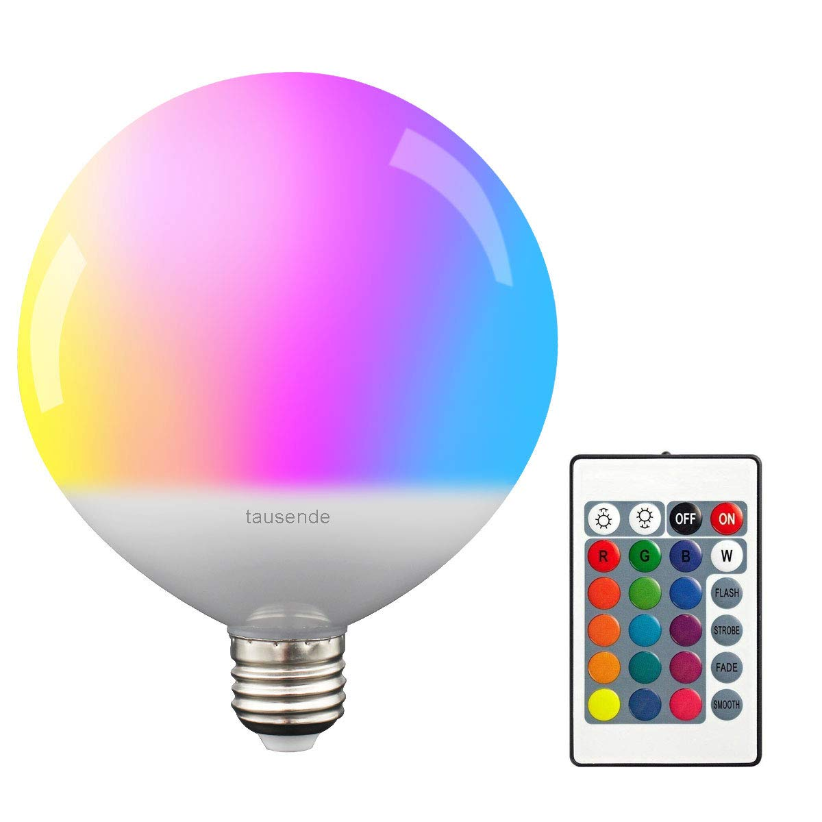RGBW Bombilla LED E27 regulable 10W, TAUSENDE Bombilla LED que cambia de color con bombilla de control remoto Luces Edison Bombilla atornillable, 15 opciones de color RGB y luz diurna blanca para la barra de la sala KTV Decoració n de la etapa Efect