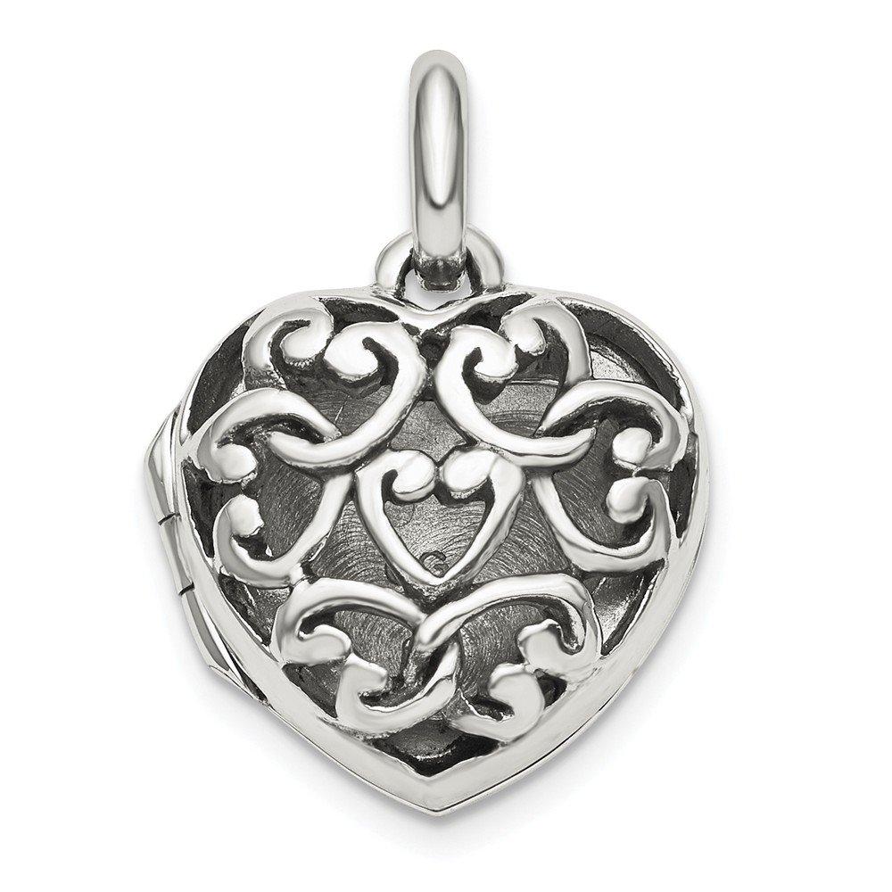 925 Sterling Silver Antiqued Filigree Locket Pendant