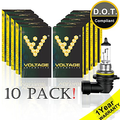 Voltage Automotive 9006 HB4 Standard Headlight Bulb (10 Pack) - OEM Replacement Halogen High Beam Low Beam Fog Lights Driving Lights