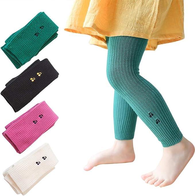 kanghua Pack de 4 leggings de canalé para bebé de punto para bebé ...