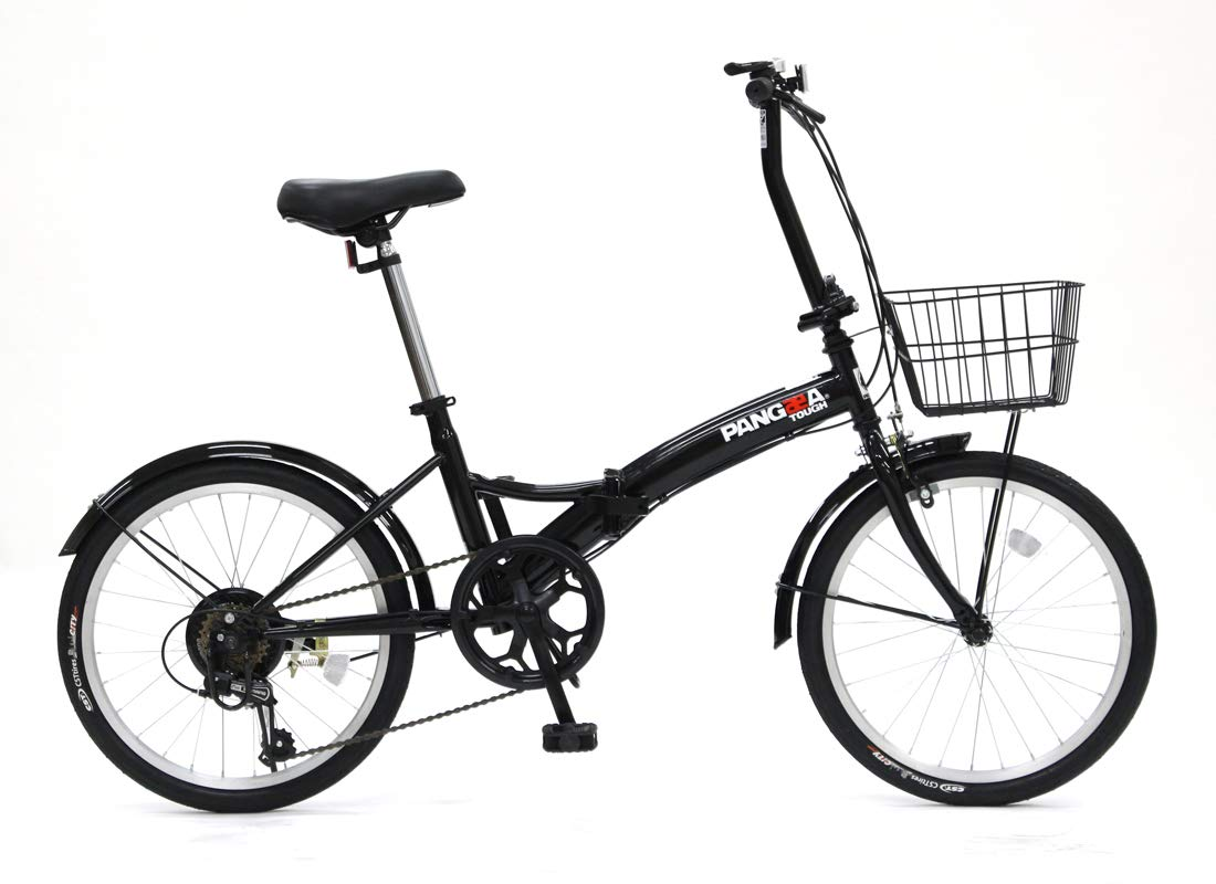 PANGAEA(パンゲア) パンクしない折りたたみ自転車 タフ ノーパンクタイヤを採用 20インチ 6段変速 バスケット/泥除け装備 94201  ブラック B07K1NDZ5T