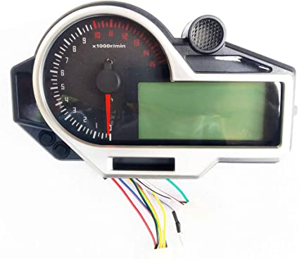 BLUERICE Universal 12000RPM 199 KMH MPH LCD Digital Speedometer Odometer Tachometer for Motorcycle 1,2,4 Cylinders with 2pcs Bracket