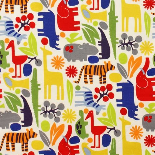 2d Zoo (Off-white cute colorful animal knit fabric Alexander Henry 2D Zoo (per 0.5 yard unit))