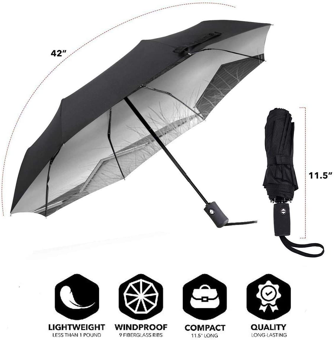 XGXC Frammentarie Automatic Tri-fold Umbrella Outer Print One Size
