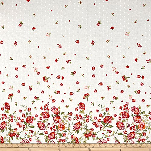 Telio Swiss Dot Floral Border Print White/Multi Fabric, Gold/Red/Black, Fabric By The ()